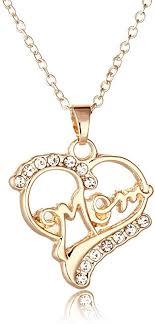 gold clear crystal heart shape mom