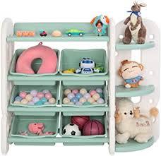 Amazon Com Joymor Kids Toy Storage Organizer With Bins Children Toy Shelves Corner Rack Toddlers Plastic Multi Layer Shelf For Child S Bedroom Playroom Green Furniture Decor