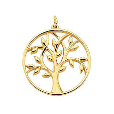 14k yellow gold tree of life pendant