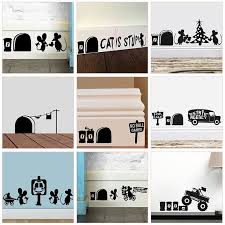 Funny Mouse Hole Wall Stickers Kitchen Bedroom Baseboard Home Decoration 3d Vinyl Wall Decals Diy Cartoon In 2020 Diy Wall Decals Kids Room Wall Stickers Wall Stickers