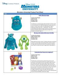 monsters university product fact sheet