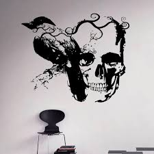 Gothic Raven And Sugar Skull Wall Decal Vinyl Sticker Art Decor Home Interior Housewares Room Bedroom Decoration A713 Wall Stickers Aliexpress