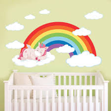 Pink Sleeping Unicorn Rainbow Wall Stickers Cloud Decals For Kids Room Girls Bedroom Nursery Decor Cartoon Animal Art Decoration Buy At The Price Of 4 81 In Aliexpress Com Imall Com