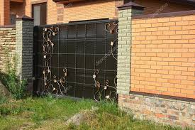 Cement Wall Fence Designs Brick Fence With Gate Of Modern Style Design Decorative Brick Wall Surface With Cement Stock Photo C Thefutureis 123204618