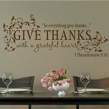 Bible Verse Give Thanks With A Grateful Heart Wall Sticker Quote Vinyl Decal Home Decoration For Living Room Thanksgiving Day Wish