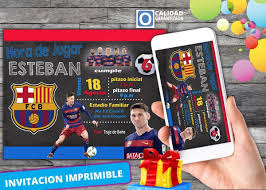 Invitacion Digital Para Cumpleanos De Messi Barcelona 120 00