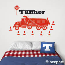 Dump Truck Wall Decal Personalized Decal Heavy Equipment Sticker Construction Equipment Art Custom Name Decal Gift For Boys