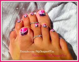 pink toenail art design how to