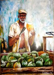 "Oil Painting of a Coconut Vendor in Jamaica done in 1993 by the artist Webster  Campbell. It is framed and the size is 32"" x 2… 