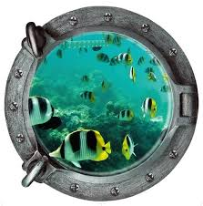Fish 3d Counterfeit Submarine Window Underwater World Wall Sticker Home Decor Decals Wall Pvc Wallpaper Kids Room Wish