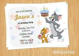 Tom And Jerry Birthday Invitation Tom And Jerry Invite Cartoon