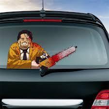 Sunsky Chainsaw Killers Pattern Horror Series Car Rear Windshield Window Wiper Self Adhesive Decorative Sticker