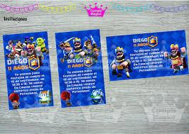 Kit Impreso Clash Royale Invitacion Banderin Cartel Stickers