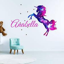 Girl S Galaxy Unicorn Custom Name Personalized Children S Nursery Wall Decal Decor Wall Sticker Medium