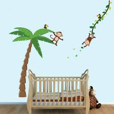 Large Palm Tree Wall Stickers With Monkey For Kids Play Room