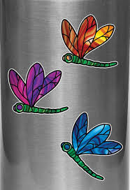 The Decal Store Com By Yadda Yadda Design Co Clr Wb Stained Glass Dragonfly D2 Vinyl Water Bottle Decal C Yydc