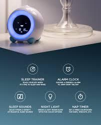 The Children S Alarm Clock Sleep Trainer Sound Machine Night Light And Nap Timer Designed For Parents Who Alarm Clock Sleep Training Childrens Alarm Clocks