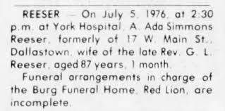 Obituary for A. Ada Simmons REESER (Aged 87) - Newspapers.com