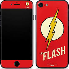 Amazon Com Skinit Decal Phone Skin For Iphone 7 Officially Licensed Warner Bros Flash Emblem Design