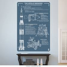 Apollo Mission Vehicle Blueprints Wall Decal At Retro Planet