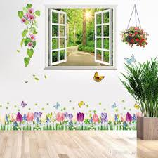 Early Morning Road In Woods Window View Wall Stickers Flowers Wall Border Decal Home Decor Fake Window Scenery Wall Mural Poster Boy Wall Decals Boys Wall Decals From Magicforwall 10 44 Dhgate Com
