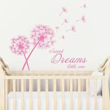 Wall Decal Vinyl Sticker Decals Art Decor Design Dandelion Flower Sign Lettering Sweet Dreams Little One Bedroo Baby Room Colors Vinyl Wall Decals Kids Playing