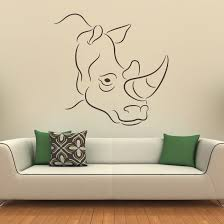 Rhino Head Outline Wall Art Stickers 47 01 Jpg 727 727 Online Wall Art Animal Wall Art Wall Vinyl Decor