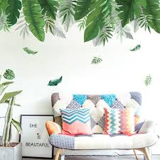 Big Tropical Palm Leaf Wall Stickers Green Plants Wall Decal Etsy