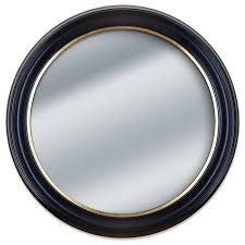 round black and gold framed wall mirror