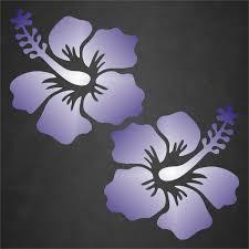 2 Hibiscus Flower Sticker Decal Tropical Beach Hawaiian Car Window Blue White For Sale Online