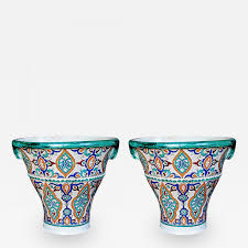moroccan conical form double handled pots