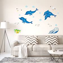 Shop Dolphin Pattern Wall Stickers Removable Art Decal For Bedroom Living Room Multi Color On Sale Overstock 29474519