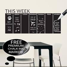 Vinyl Chalkboard Weekly Calendar Wall Decal On Etsy 29 99