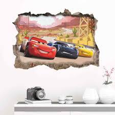 New Disney Cartoon Movie 3dview Broken Wall Cars Lightning Mcqueen Wall Sticker Kids Room Mural Art Home Decoration Wall Stickers Aliexpress