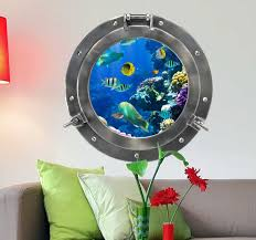 Customisable Submarine Porthole Ocean Wall Sticker Tenstickers