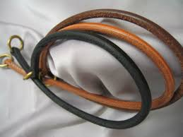 leather dog rolled leather slip collar