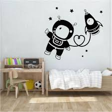 Astronaut Space Nursery Wall Stickers Bedroom Living Room Art Decoration Star Rocket Vinyl Wall Decals For Kids Room Wl1598 Wall Stickers Aliexpress