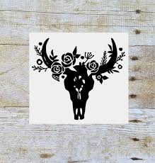 Steer Skull Floral Decal Floral Cow Skull Flower Bull Skull Yeti Decal Tumbler Decal Tumbler Cup Decal Cow S Skull Decal Silhouette Crafts Monogram Decal