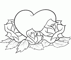 roses and hearts coloring pages