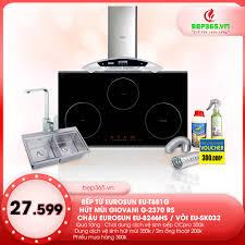 Combo Bếp điện từ Eurosun EU -T881G + Hút mùi Giovani G 2370RS + Chậu  Eurosun EU-8246HS + Vòi Eurosun EU- SK032