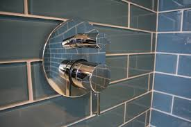 large format glass tile in a shower