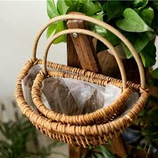 wall hanging pot planter rattan basket