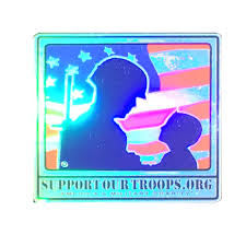 Support Our Troops Male Soldier Child Logo Bumper Sticker Car Decal Holographic Support Our Troops