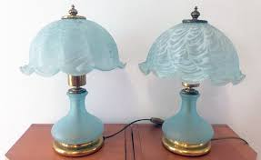 vm label pair of blue glass lamps
