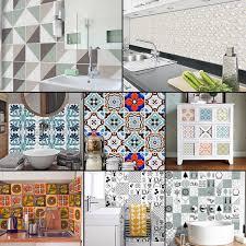 Ukap 10 20 50 100packs Self Adhesive Wall Decal Tile Vinyl Sticker Diy Kitchen Home Decor Moroccan Style Easy Clean Walmart Com Walmart Com