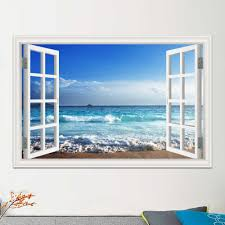 Blue Sea Sky Summer Nature Picture Landscape Large Decal Vinyl Wallpaper 3d Window View Wall Sticker Room Decor Pvc Wall Stickers Aliexpress
