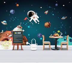 Bacal 3d Wallpaper Space Universe Kids Room Starry Sky Planet Wallpaper Murals Stereo Cartoon Mural Papel De Parede 5d Fresco Wallpapers Aliexpress