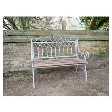 grey metal wood vintage garden bench