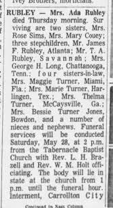 Obituary for Ada Turner Rubley -pt 1 - Newspapers.com