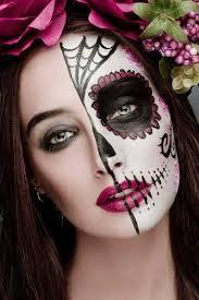 pretty sugar skull makeup half face